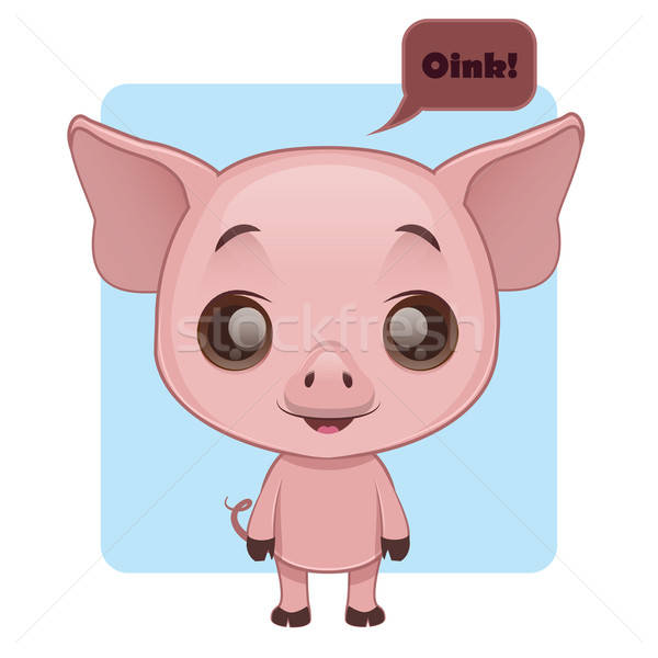 Cute pig saying hello in their own language Stock photo © AgnesSz