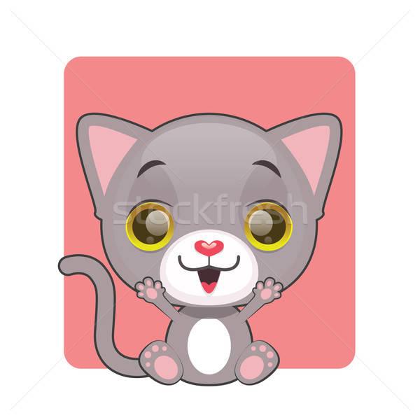 Cute heiter grau Kätzchen Augen Hintergrund Stock foto © AgnesSz