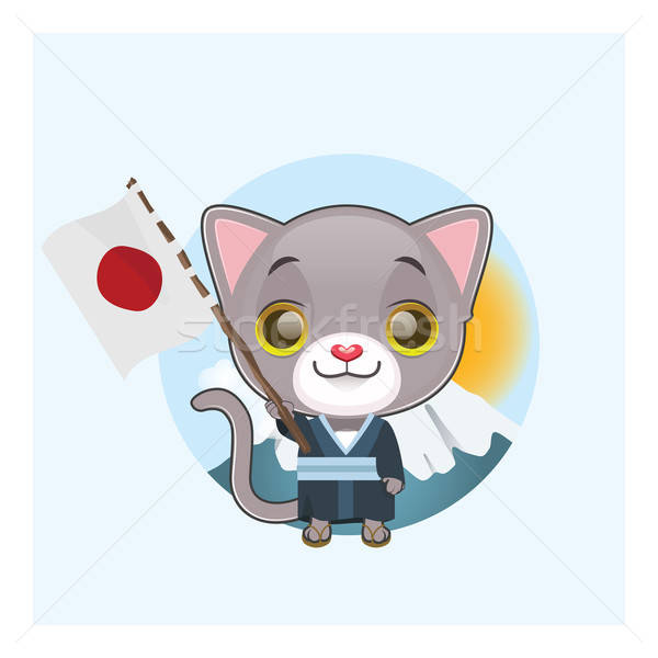 Cute gray cat in traditional Japanese clothing holding Stock photo © AgnesSz