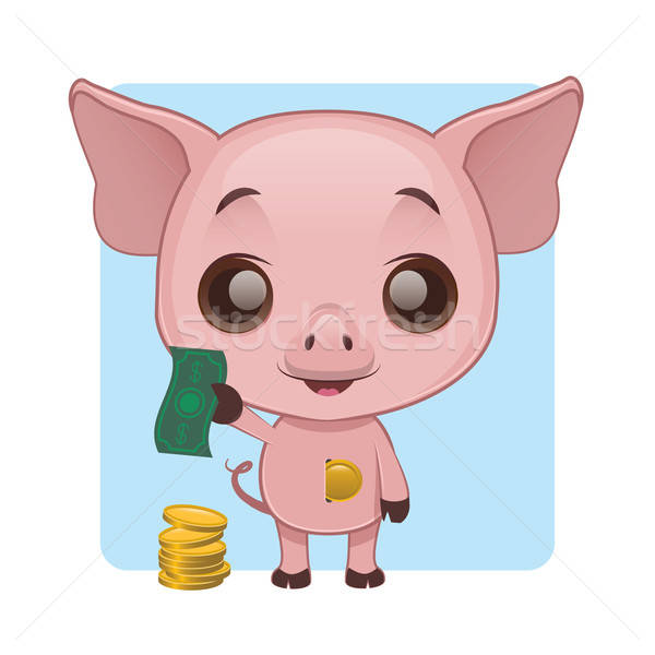 Cute pig demonstrating how to save money in a piggy bank Stock photo © AgnesSz
