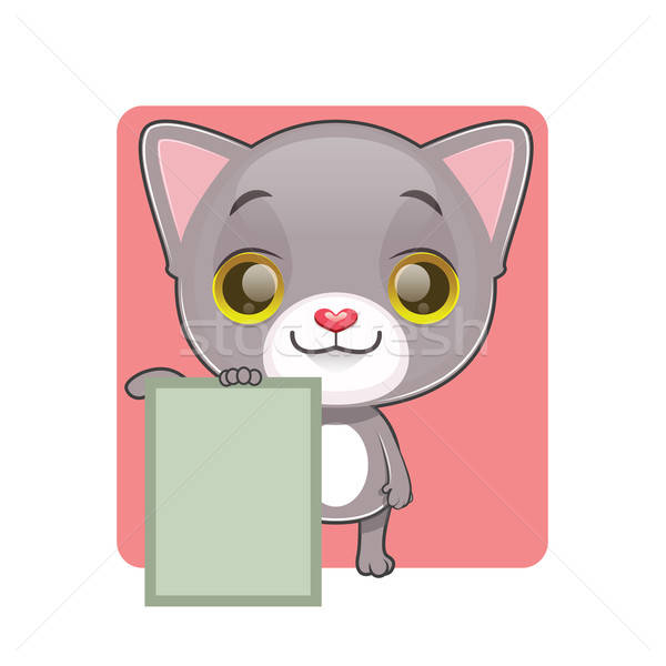 Cute gray cat holding a note Stock photo © AgnesSz