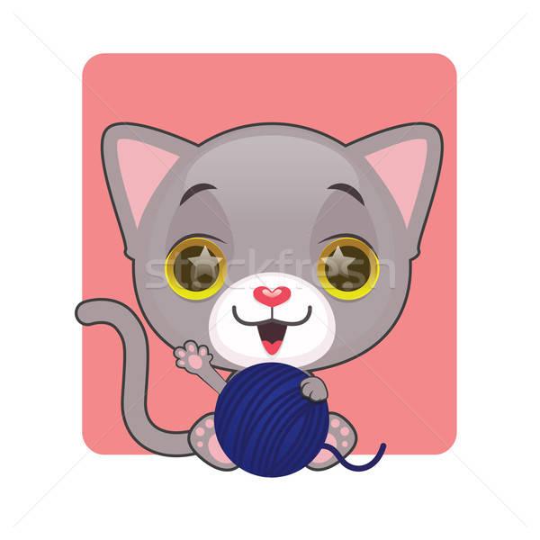Cute gray kitten with their blue yarn ball Stock photo © AgnesSz