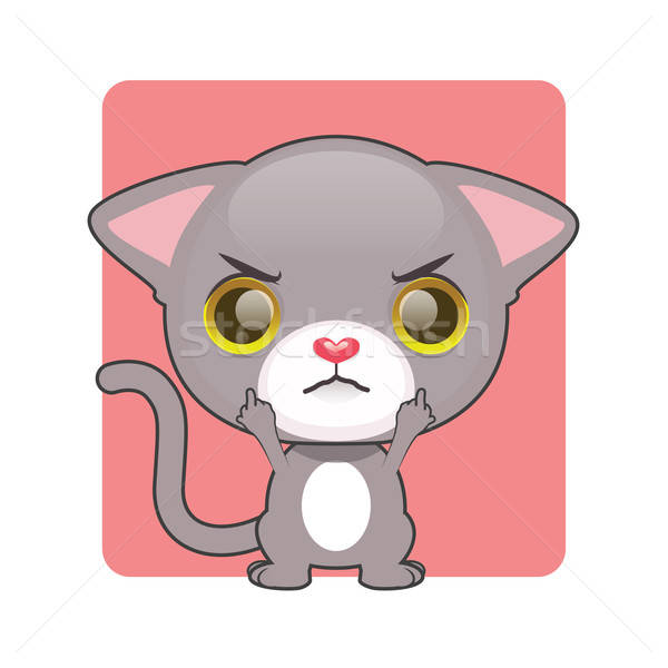 Cute grau Kätzchen verärgert Hintergrund rot Stock foto © AgnesSz