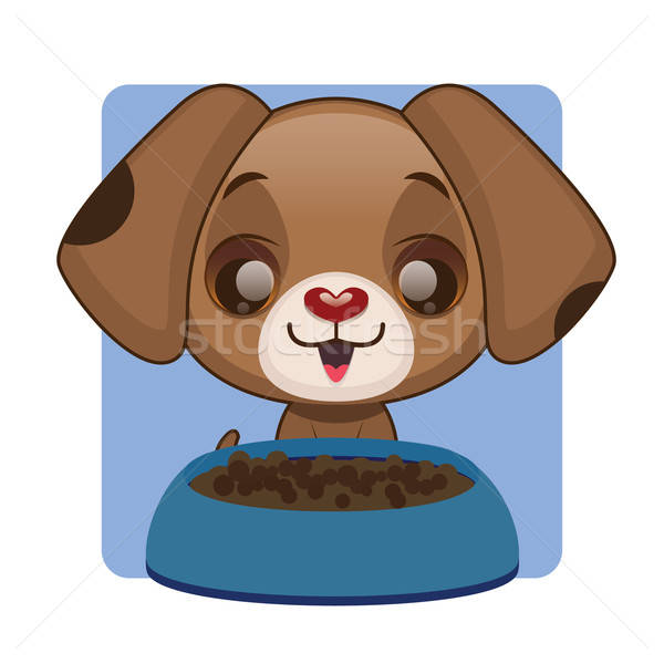 Cute brown puppy happy with food bowl Stock photo © AgnesSz