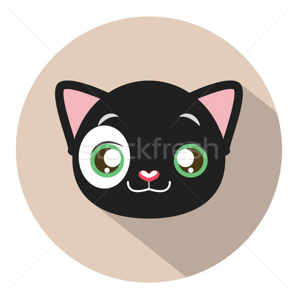 Stock photo: Kitty head icon #9 with long shadow