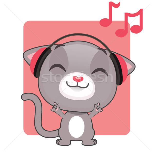 Aranyos szürke kiscica zenét hallgat zene szemek Stock fotó © AgnesSz