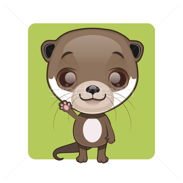 Stock photo: Cute otter mascot waving pose