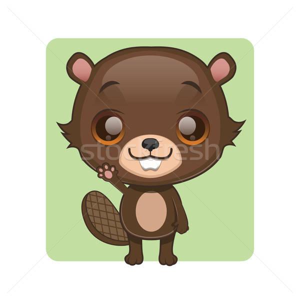 Stock photo: Cute beaver mascot waving pose
