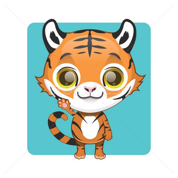 Aranyos tigris kabala integet póz macska Stock fotó © AgnesSz