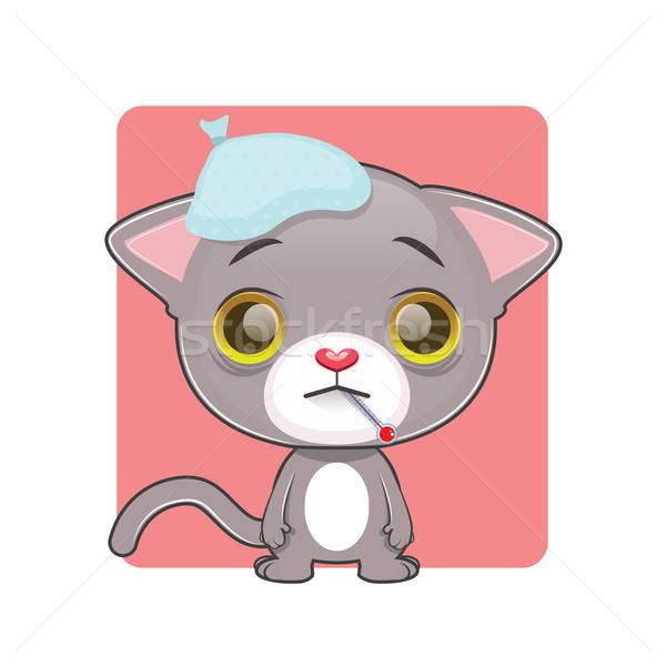 Cute graue Katze Gefühl krank Hintergrund funny Stock foto © AgnesSz