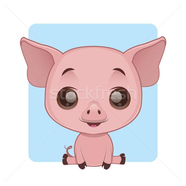 Cute Schwein Sitzung Baby Natur Hintergrund Stock foto © AgnesSz