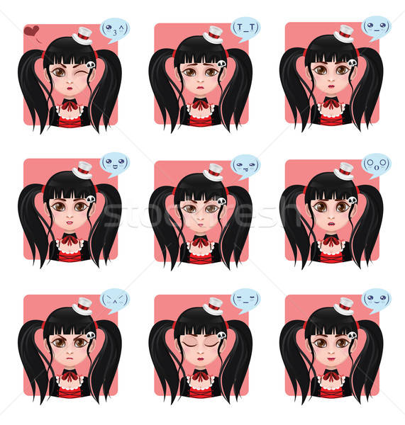 Girl displaying 9 different emotions Stock photo © AgnesSz