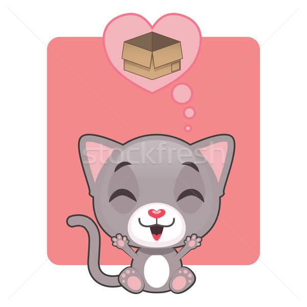 Aranyos szürke kiscica gondolkodik doboz boldog Stock fotó © AgnesSz