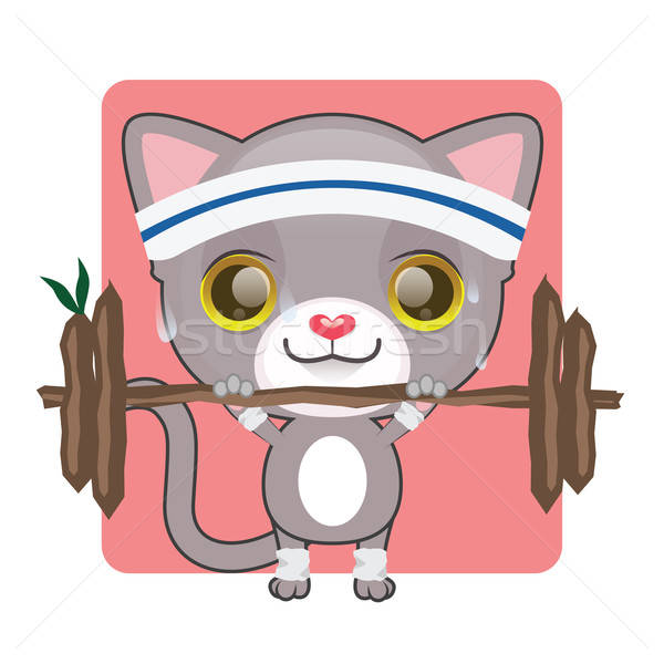 Cute gray kitten lifting heavy weights Stock photo © AgnesSz