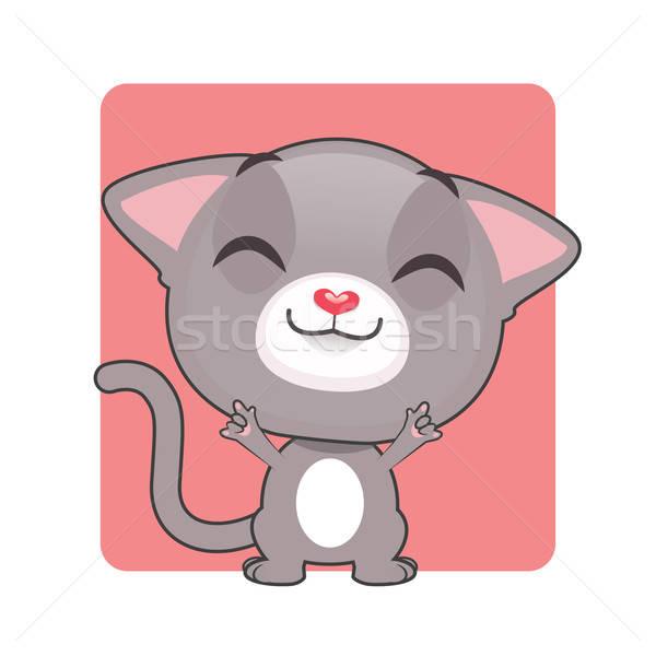 Aranyos szürke macska pózol boldog szemek háttér Stock fotó © AgnesSz