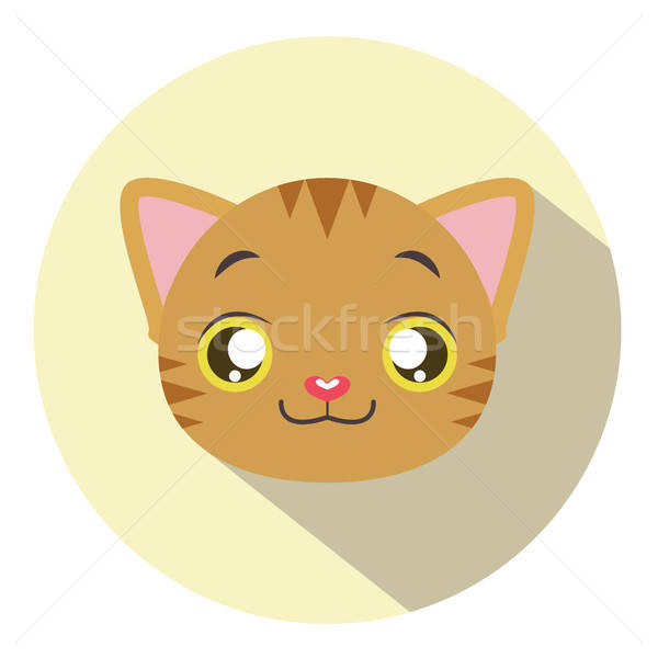 Kitty head icon #11 with long shadow Stock photo © AgnesSz