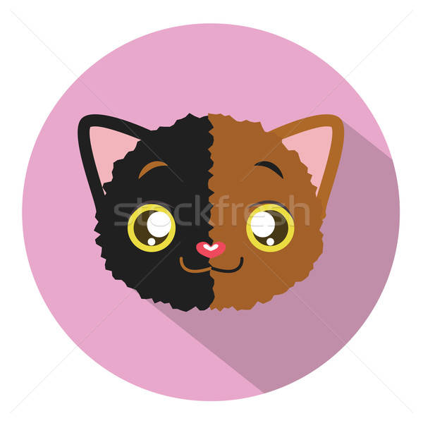 Kitty head icon #10 with long shadow Stock photo © AgnesSz