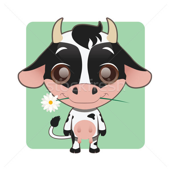 Cute cow with flower in their mouth Stock photo © AgnesSz