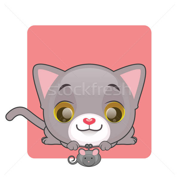Cute gray kitten looking at a toy mouse Stock photo © AgnesSz