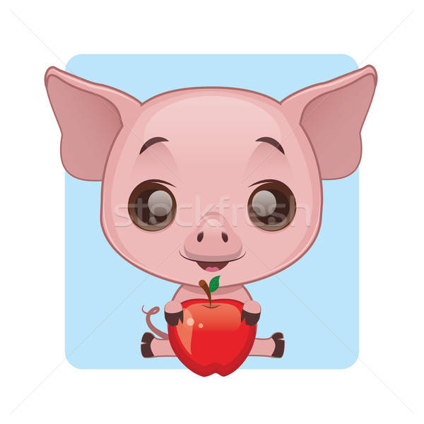 Cute Schwein halten Apfel Hintergrund Bauernhof Stock foto © AgnesSz