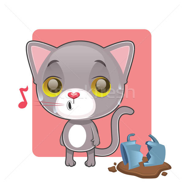 Cute gray cat feeling guilty after breaking a mug Stock photo © AgnesSz
