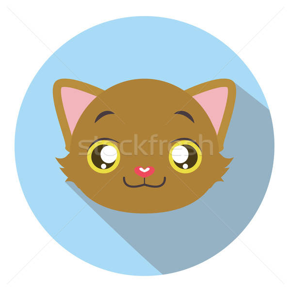 Kitty head icon #12 with long shadow Stock photo © AgnesSz