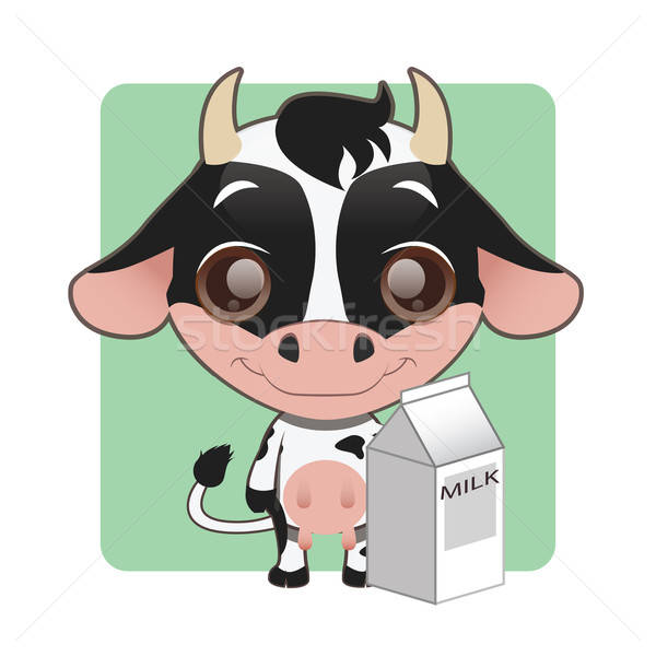 Cute cow holding a milk carton Stock photo © AgnesSz