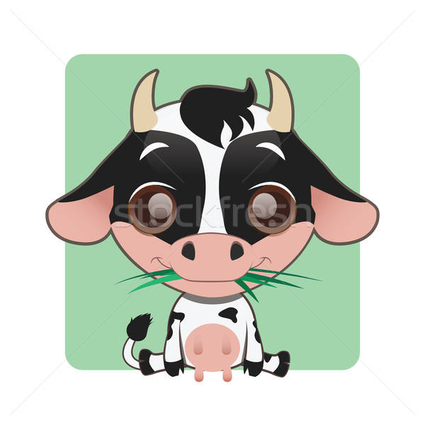 Cute cow with grass in their mouth Stock photo © AgnesSz