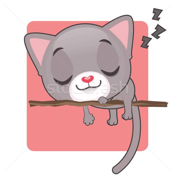 Aranyos szürke kiscica alszik ág háttér Stock fotó © AgnesSz