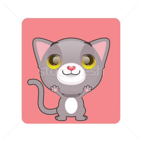 Cute gray cat reaching up Stock photo © AgnesSz