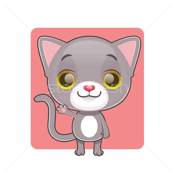 Aranyos szürke macska integet háttér hullám vicces Stock fotó © AgnesSz
