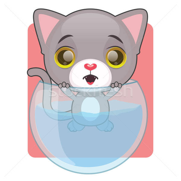 Cute gray cat stuck in a fish bowl Stock photo © AgnesSz