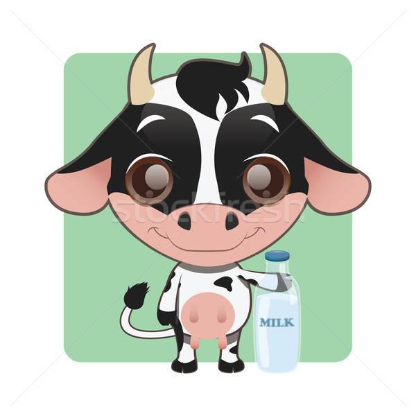 Cute cow holding a milk bottle Stock photo © AgnesSz