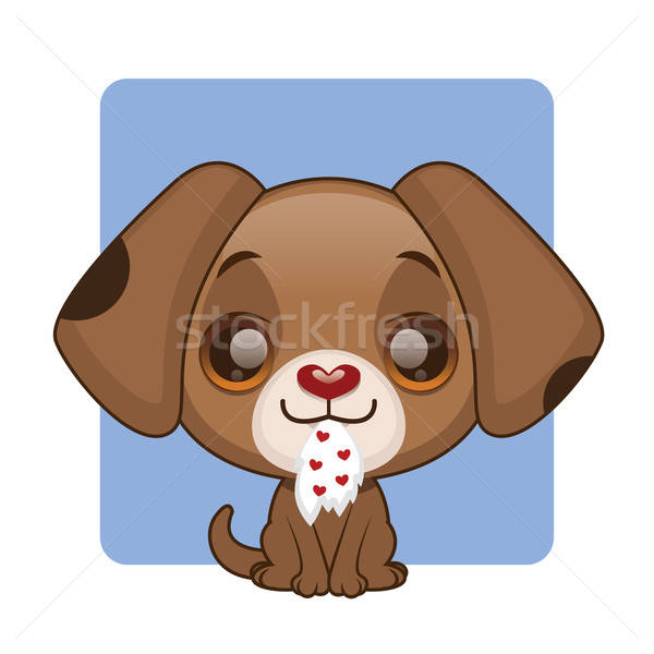Cute brown puppy with a piece of heart patterned underwear in their mouth Stock photo © AgnesSz