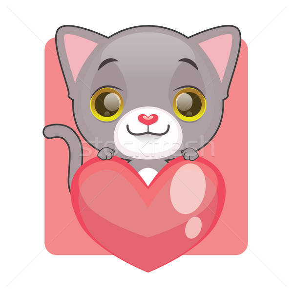 Cute gray kitten holding a giant heart Stock photo © AgnesSz
