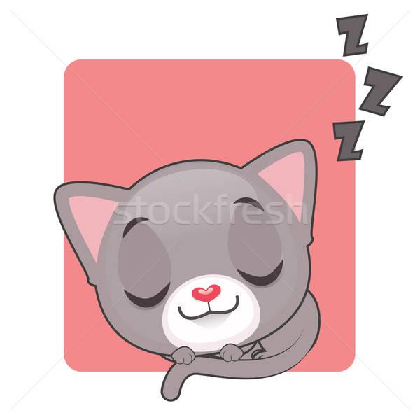 Cute grau Kätzchen schlafen Augen Hintergrund Stock foto © AgnesSz