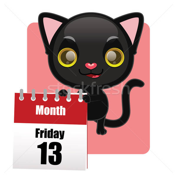 Cute black kitten with calendar showing Friday 13th Stock photo © AgnesSz