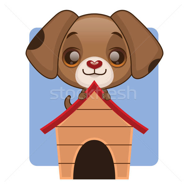 Cute brown puppy on the top of his house Stock photo © AgnesSz