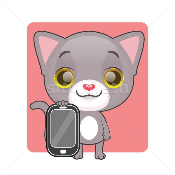 Cute gray cat holding a mobile phone Stock photo © AgnesSz