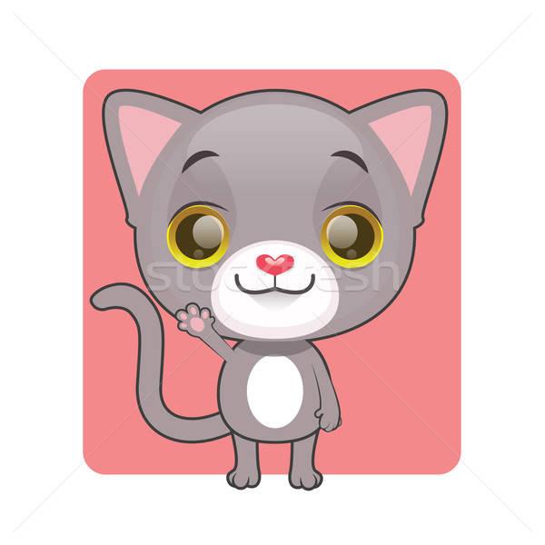 Aranyos szürke kiscica integet háttér piros Stock fotó © AgnesSz