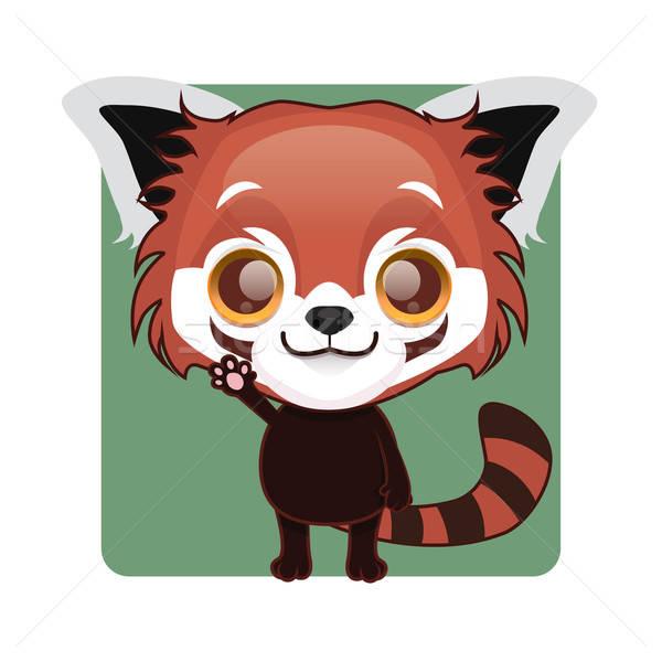 Aranyos piros panda kabala integet póz Stock fotó © AgnesSz