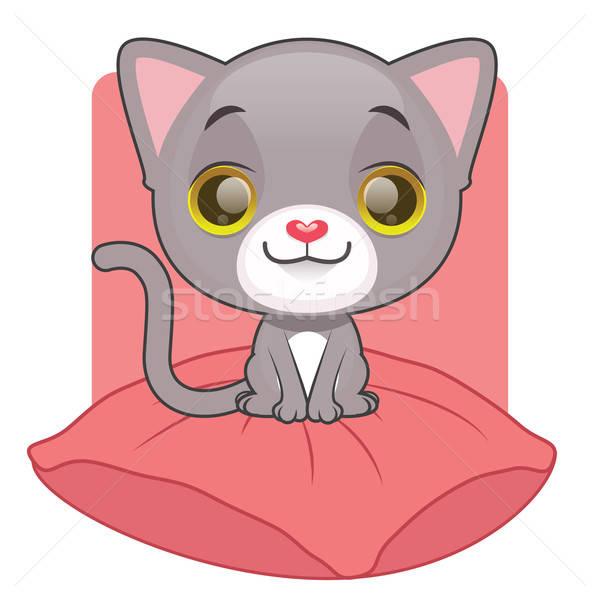 Cute grigio gattino seduta cuscino sfondo Foto d'archivio © AgnesSz