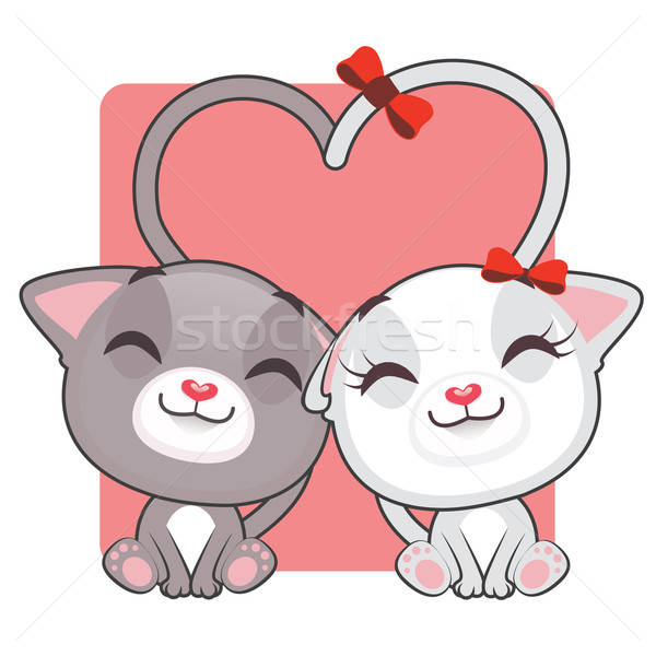 Cute kitties in love Stock photo © AgnesSz