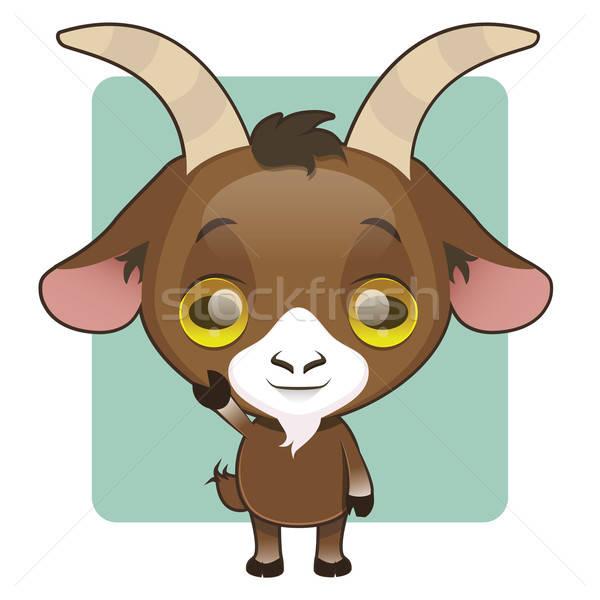Stock photo: Cute goat mascot waving pose