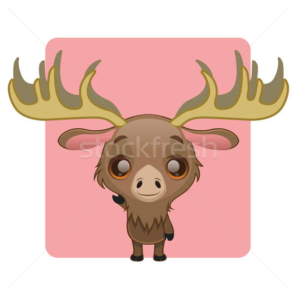 Stock photo: Cute moose mascot waving pose
