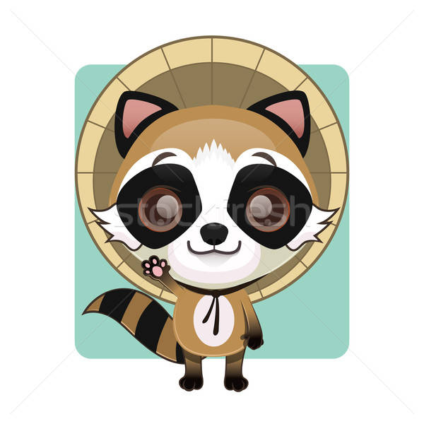 Cute tanuki ( raccoon dog ) with a straw hat Stock photo © AgnesSz