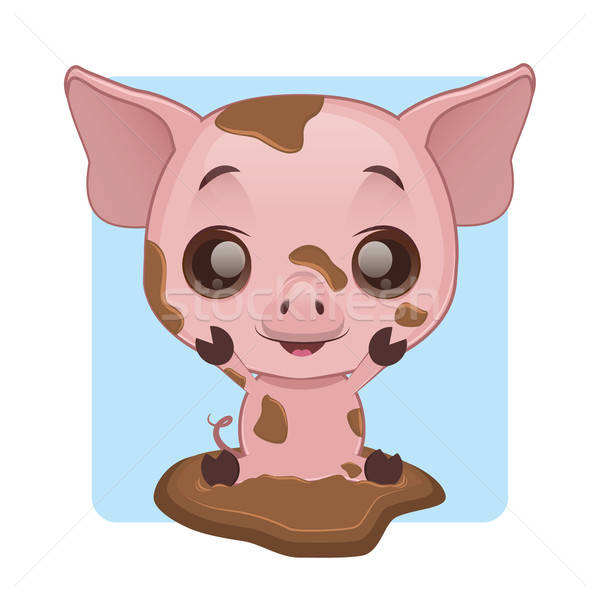Cute pig playing in mud Stock photo © AgnesSz