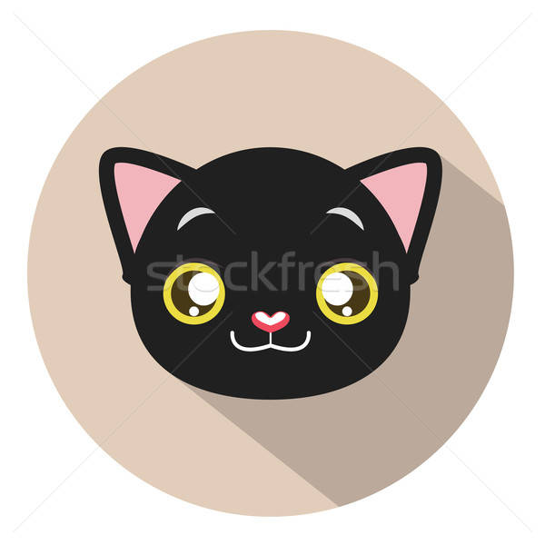 Kitty head icon #1 with long shadow Stock photo © AgnesSz
