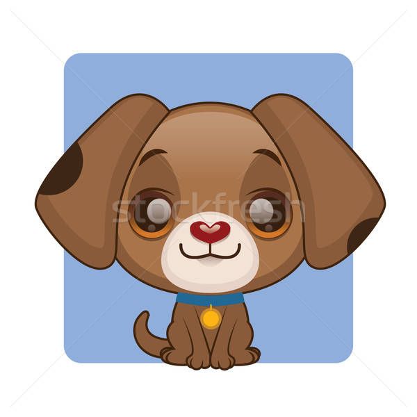 Cute brown puppy with a collar sitting Stock photo © AgnesSz