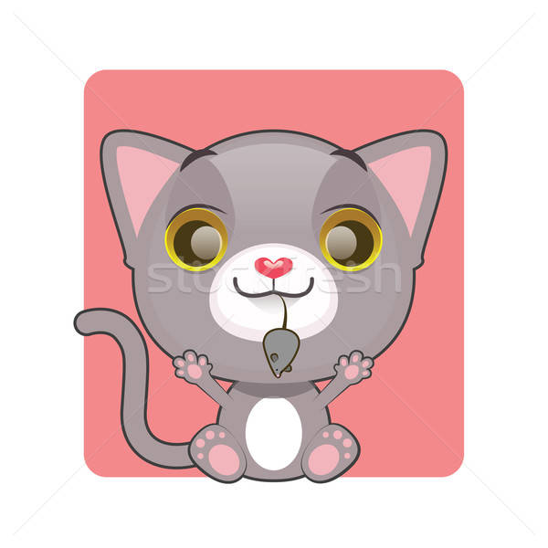 Cute gray kitten holding a mouse in their mouth Stock photo © AgnesSz